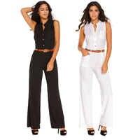 8 colores de moda ropa de calle con cinturón mono sin mangas de verano Pantalones casuales de las mujeres Bodycon mono amplia pantalones mono