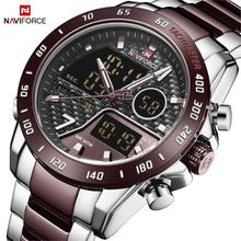 NAVIFORCE Men Watch Clock-Design Quartz Stainless-Steel Wate