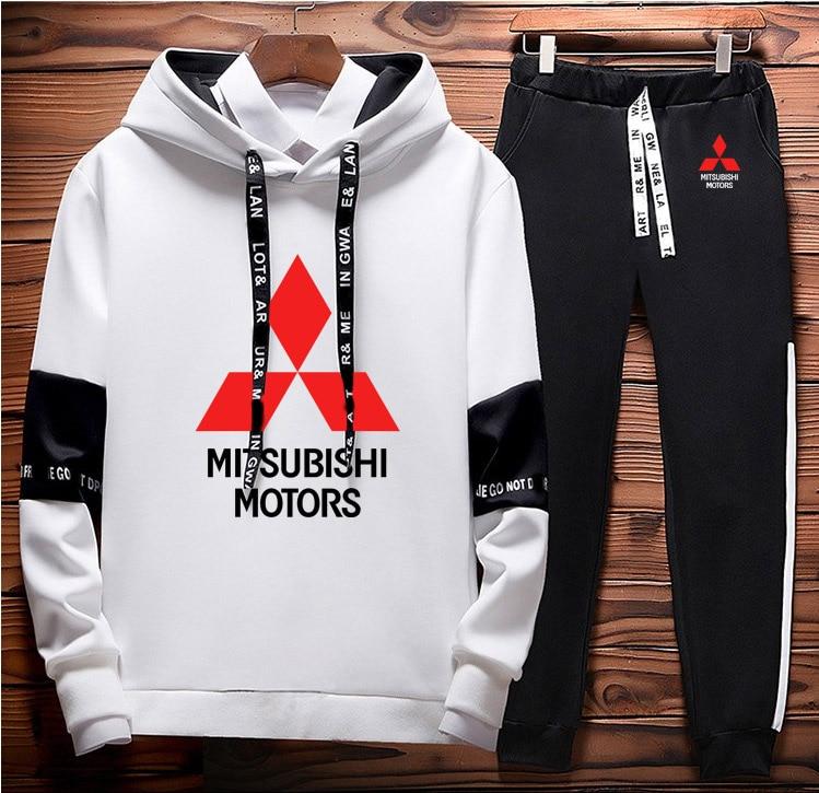 Mens Hoodies Sweatshirt Mitsubishi Car Logo Printed Spring Autumn Hoodies+Pants 2Pcs Sporting Suit Fleece Warm Thick Sportwear