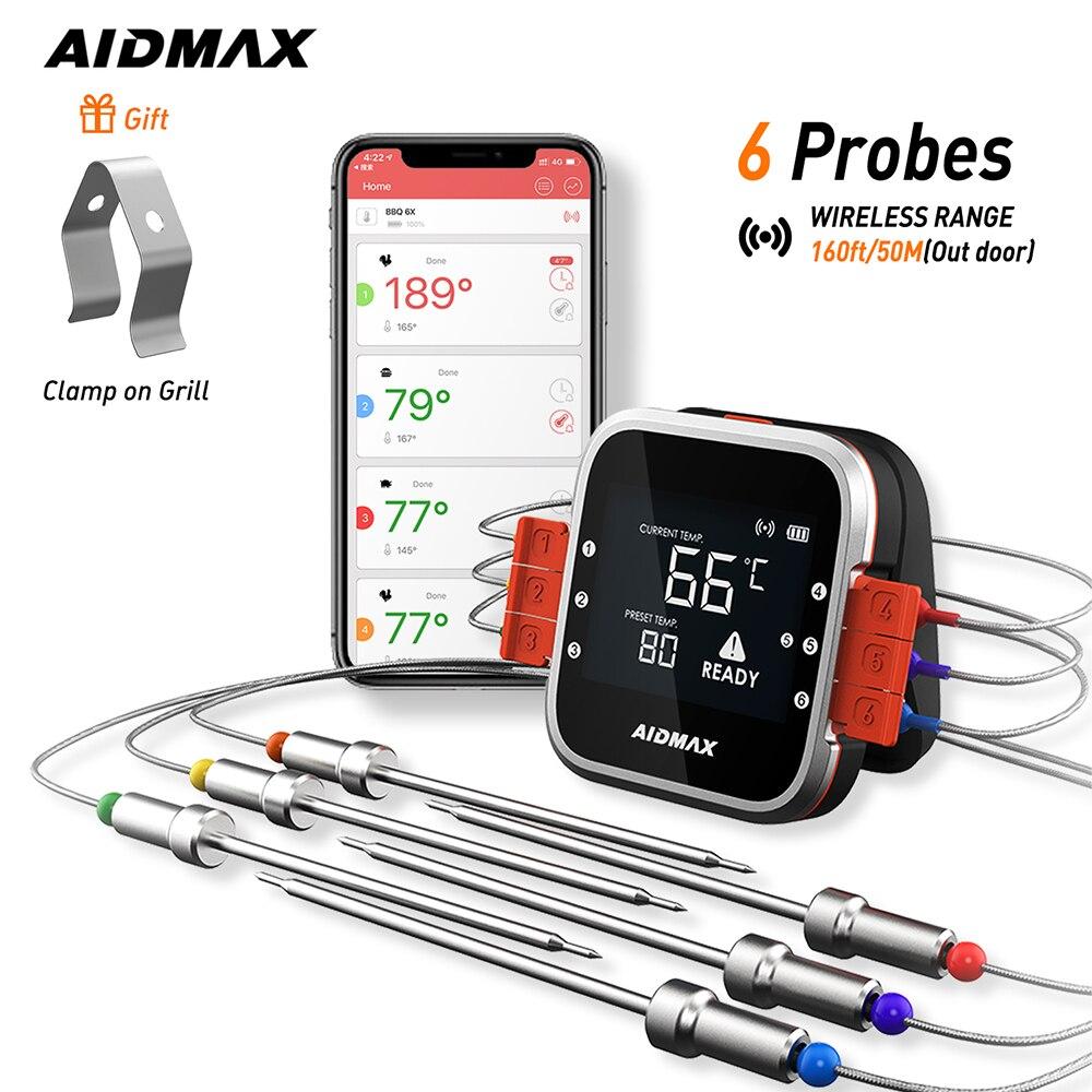 Цифровой беспроводной термометр AidMax WR01 для барбекю, мяса, гриля, духовки, термометр с зондом из нержавеющей стали, Кухонный Термометр для пр...
