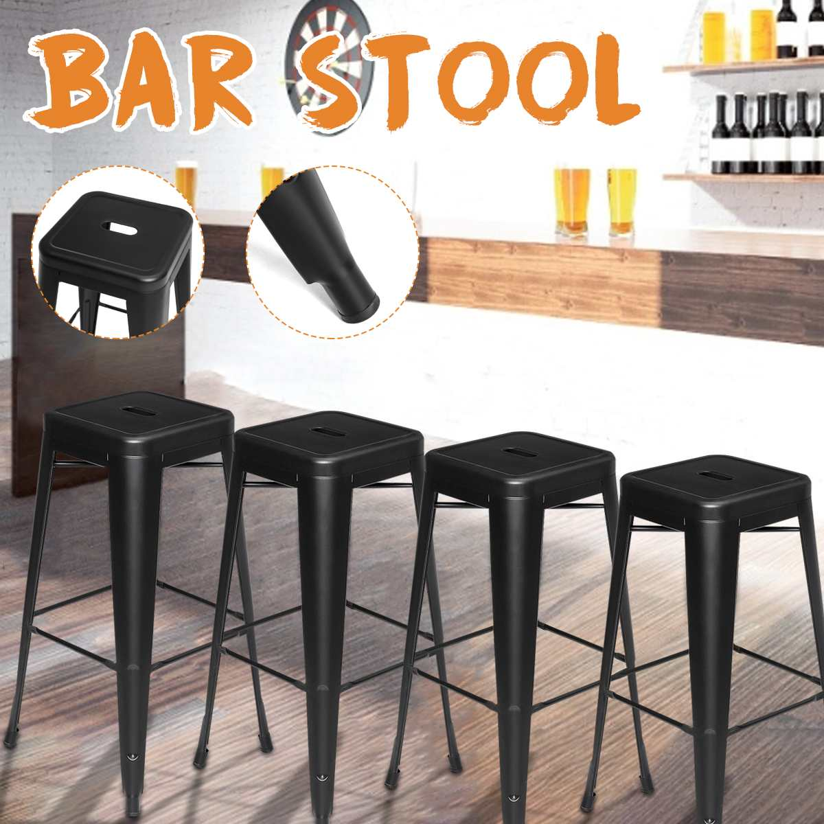 New 4 PCS Black Metal Nordic Bar Stool Modern Wrought Iron Bar Chair Fashion High Stool Dining Chair For Bar Home Kitchen