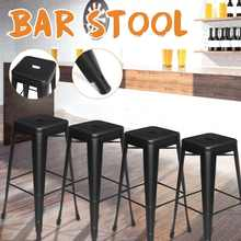 New 4 PCS Black Metal Nordic Bar Stool Modern Wrought Iron Bar Chair Fashion High Stool Dining Chair For Bar Home Kitchen(China)