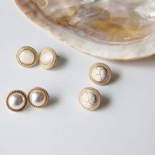 Japanese  Korean fashion earrings retro Round Marble Opal Stone Big Stud Earrings For Women girls Temperament pearl hot jewelry