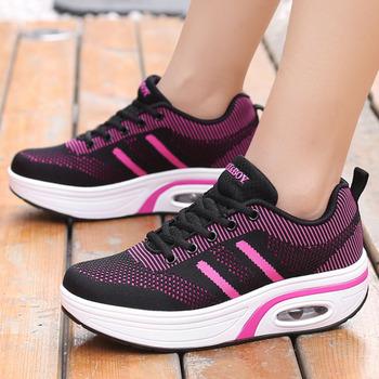 Increase Height 5cm Wedges Shoes Women Rocking Shoes Platform Sneakers Comfortable Fashion Flying Weave Ladies Thick Sole Shoes tanie i dobre opinie RUMPRA CN (pochodzenie) outdoor fitness shoes Hard court Początkujący Oddychające Wysokość zwiększenie Masaż medium