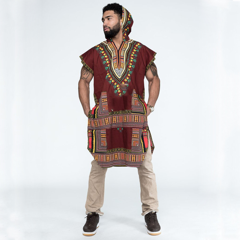 African Print TShirt Men Dashiki Robe Traditional Clothing Hooded Danshiki Blouse Ankara Tops Bazin Riche For Man Indian Clothes