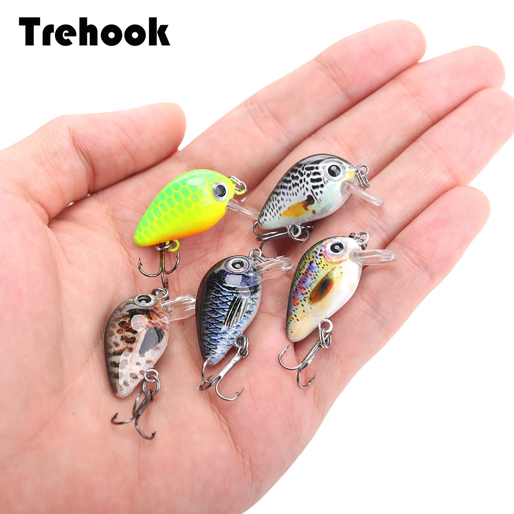 TREHOOK 5pcs 1.5g 3cm Mini Wobblers/Crankbait Fishing Lure Artificial Bait Hard Floating Wobbler for Fish Bass Fishing Tackle