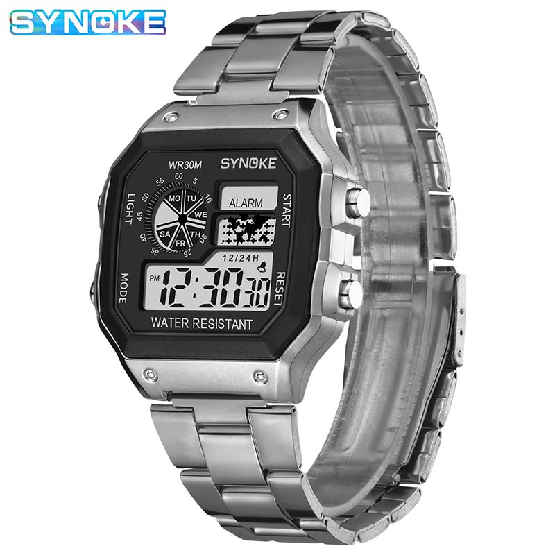 Mens Watches SYNOKE Top Brand Luxury Sliver Gold Men Watch Digital Led Leisure Watch Plastic Waterproof Life Relogio Masculino