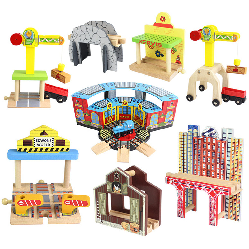 Wooden Train Track Accessories Parking Lot Railway Station Fit For Thomas Biro Multiple Tracks Educational Toys For Children