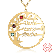 Personalized Necklaces 925 Sterling Sliver Tree Name Necklace Pendant Engraved 3 Names Birthstones  Anniversary Gift for Women