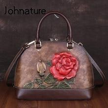 Johnature 고품질 정품 가죽 럭셔리 핸드백 여성 가방 2020 새로운 레트로 수제 엠보싱 어깨 & Crossbody 가방