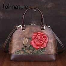 Женские сумки из натуральной кожи Johnature, роскошные сумки ручной работы в стиле ретро, с тиснением, через плечо, 2020