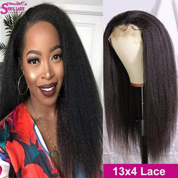 Kinky Straight Wig 13x4 Transparent Lace Wigs Brazilian Kinky Straight Full Lace Wigs Human Hair 4x4 Closure Yaki Human Hair Wig