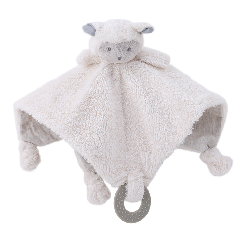 New Arrival Cute Sheep Infant Reassure Towel Newborn Blankie Baby Appease Towel Toddler Plush Rattle Toy With Teether