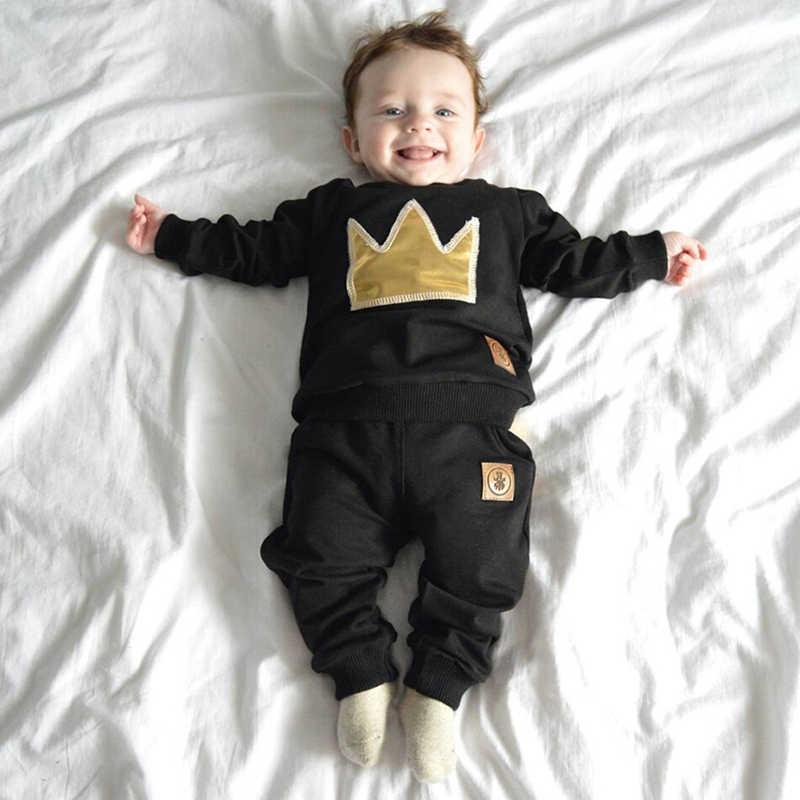 Lookykit conjunto de ropa para niño pequeño de algodón suave otoño ropa de bebé recién nacido camisetas de manga larga + Pantalones 2 uds traje deportivo infantil 3-24M