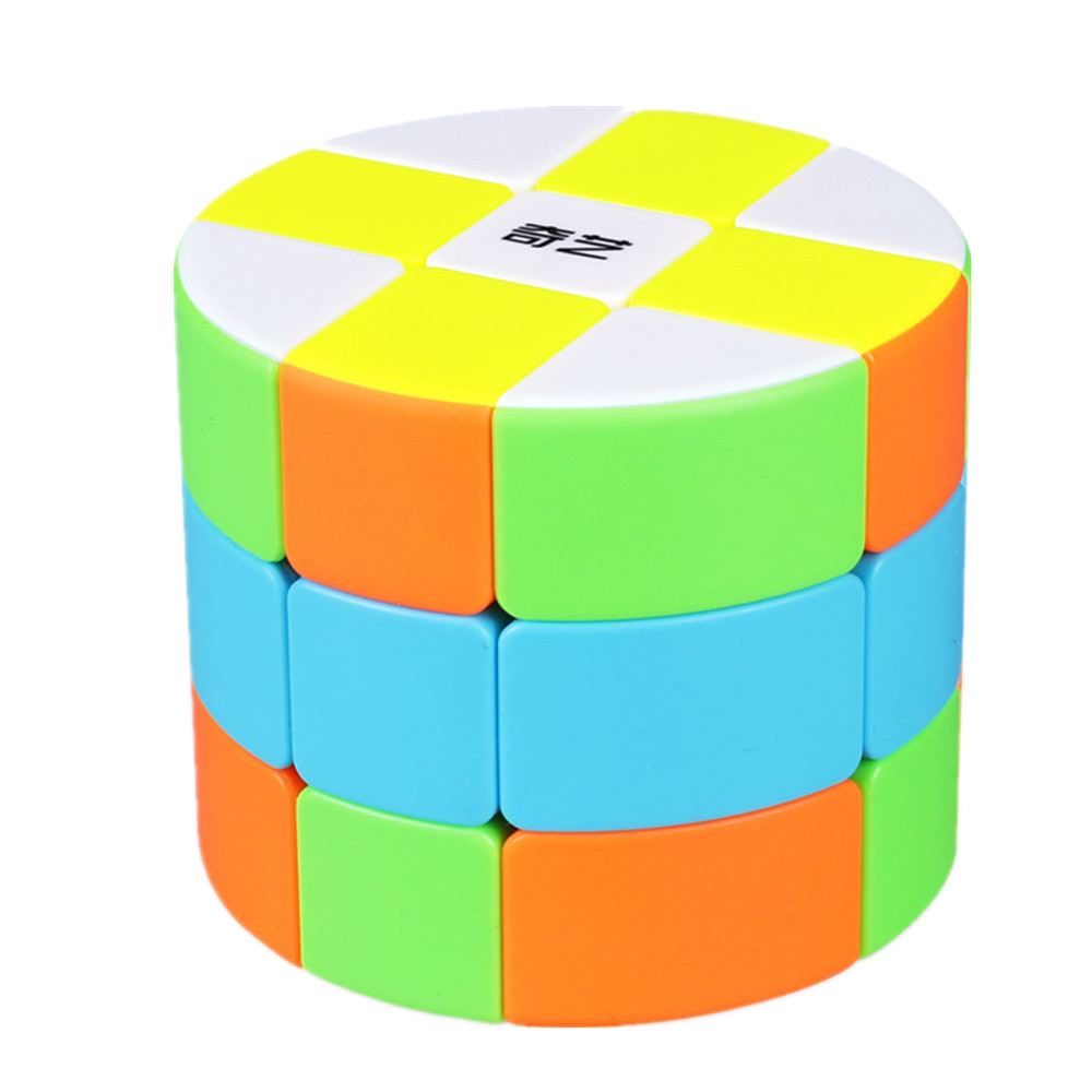 Qiyi 3x3x3 Stickerless Cylinder Magic Cube Speed Cube Puzzle Toy Colorful For Children Kids Cubo Magico