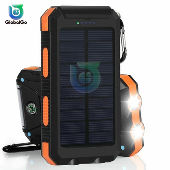 цена на For Phone Portable Solar Power Bank 20000mAh External Battery DUAL Ports Powerbank Charger Mobile Charger