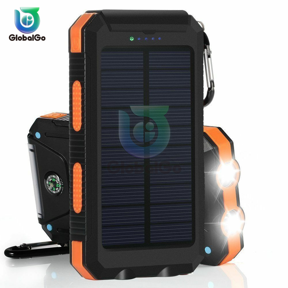 For Phone Portable <font><b>Solar</b></font> <font><b>Power</b></font> <font><b>Bank</b></font> <font><b>20000mAh</b></font> <font><b>External</b></font> <font><b>Battery</b></font> DUAL Ports Powerbank Charger Mobile Charger image