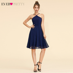 Sexy Dot Cocktail Dresses Ever Pretty A-Line Halter Spaghetti Straps Navy Blue Short Chiffon Party Dress Vestidos De Coctel 2020