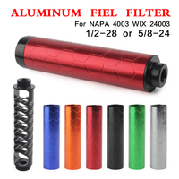 NEW 6 color Aluminum 6inch 1/2 28 or 5/8 24 Car Fuel Filter housing Car Solvent Trap FOR NAPA 4003 WIX 24003