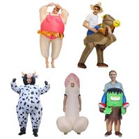 Adult Inflatable Funny Blow Up Fat Man Party Fancy Dress Halloween Costumes Adult Ballerina Cow Suit Carry On Ride R7RB