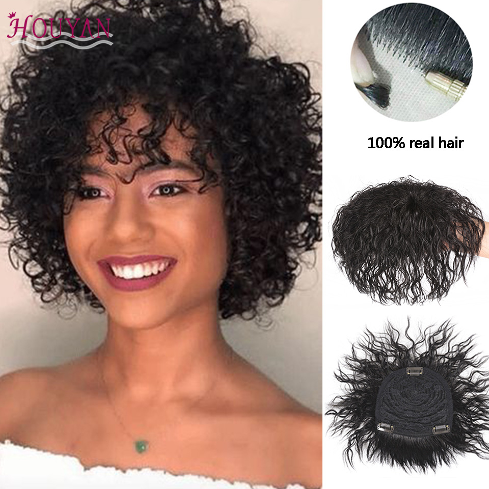 HOUYAN 100% Real Human Hair Top Topper Toupee Wave Curly Hair Clip In Hair Topper Hairpiece Hair Closure