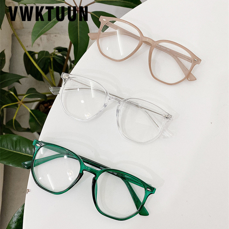 VWKTUUN Square Eyeglasses Frames Rivet Optical Frames Vintage Women Men Glasses Big Computer Glasses