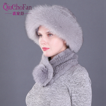 цена на Women Winter Knitted Genuine Mink Fur Bucket Cap Hats &Warm Fox fur Ball Scarves Outdoor Knitted Beanie Scarf gifts for wife
