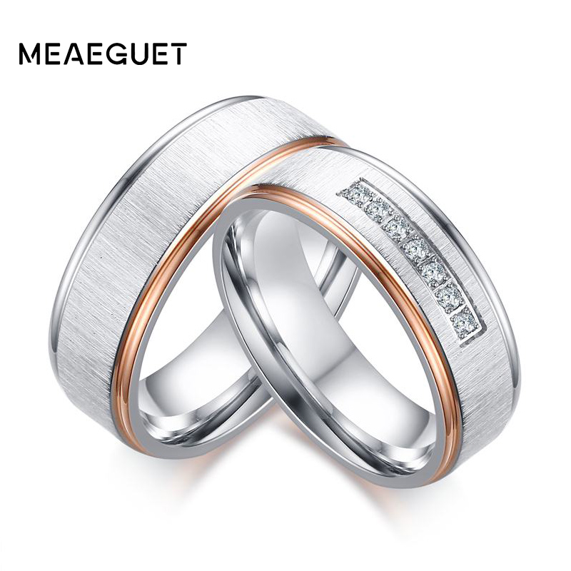 Meaeguet silver color Color Wedding <font><b>Rings</b></font> Cubic Zirconia Love Promise <font><b>Couples</b></font> <font><b>Rings</b></font> <font><b>Set</b></font> Stainless Steel Alliance Wedding Band image