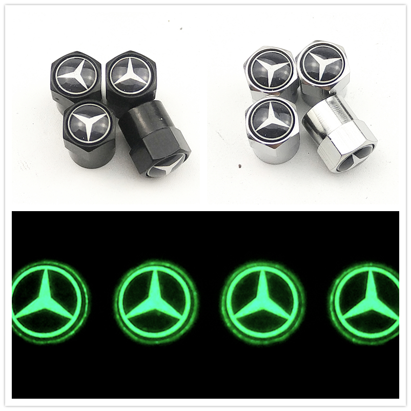 Luminous Car Wheel Tire Valves Tyre Stem Air Caps Case For Mercedes Benz A B R G GLA W204 W251 W463 W176 W211 Car Accessories
