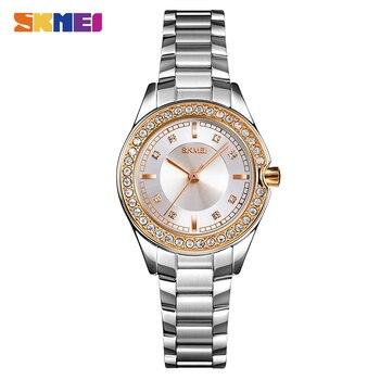 SKMEI Luxury Rhinestones Dress Women Quartz Watch Fashion Stainless Steel Female Ladies Wristwatch Relogio Feminino 1534 Clock