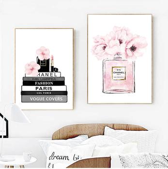 Modna książka perfumy butelka plakaty obraz ścienny na płótnie kwiaty akwarele Vogue zdjęcia drukuje do salonu Home Decor tanie i dobre opinie posterroom CN (pochodzenie) Płótno wydruki Pojedyncze Wodoodporny tusz Streszczenie Unframed Nowoczesne PH5142-PH5143