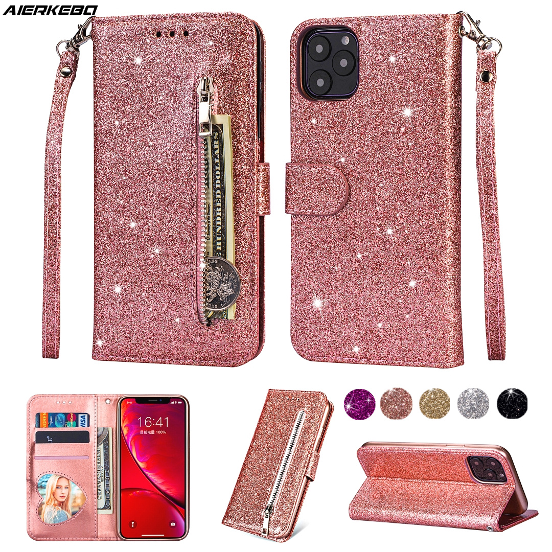 Leather Case for <font><b>iPhone</b></font> 11 Pro XS Max XR X <font><b>iPhone</b></font> <font><b>8</b></font> 7 6 S Plus SE 2020 Bling Zipper Wallet Card Holder Accessories Shining Cover image