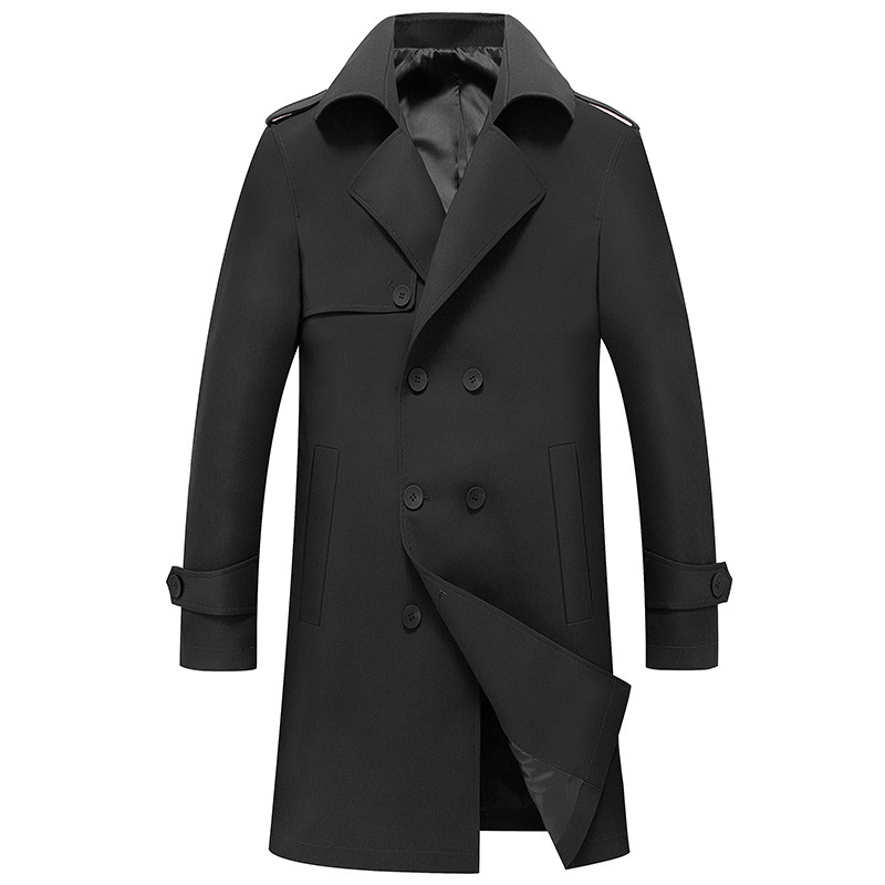 2020 Spring New Casual Long Trenchcoat High Quality Double Breasted Coupe Vent Homme