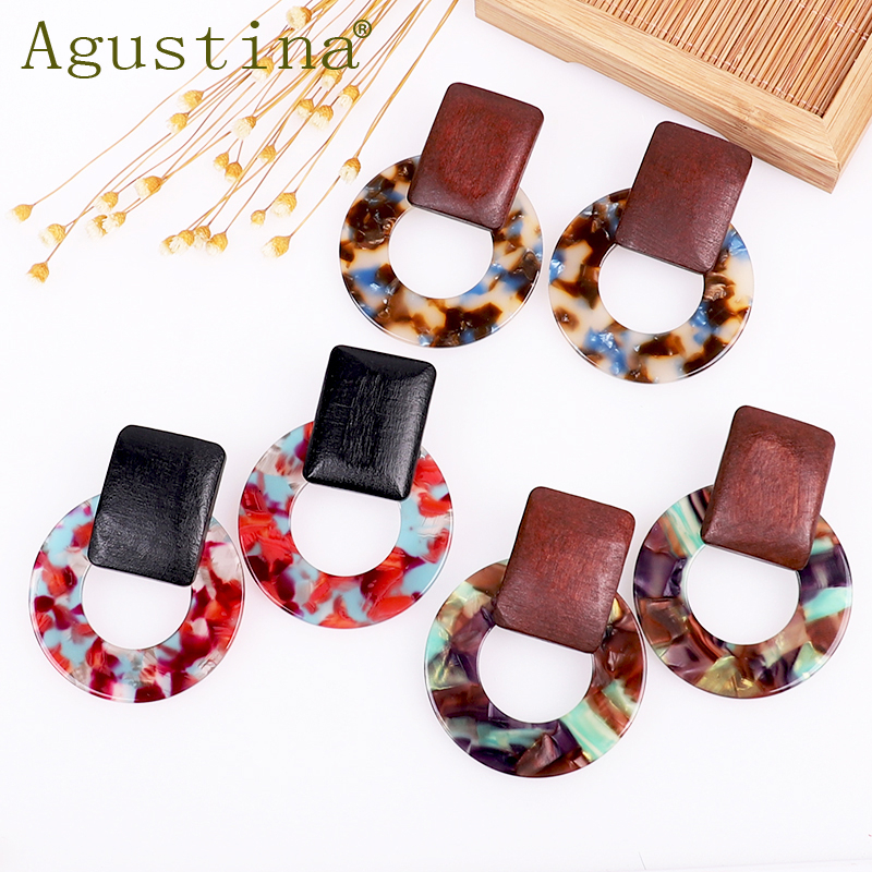 Agustina Wood Acetate Fashion Earrings Jewelry Girls Drop Earrings For Women Green Rainbow Earrings Punk Earring Earings Boho cc