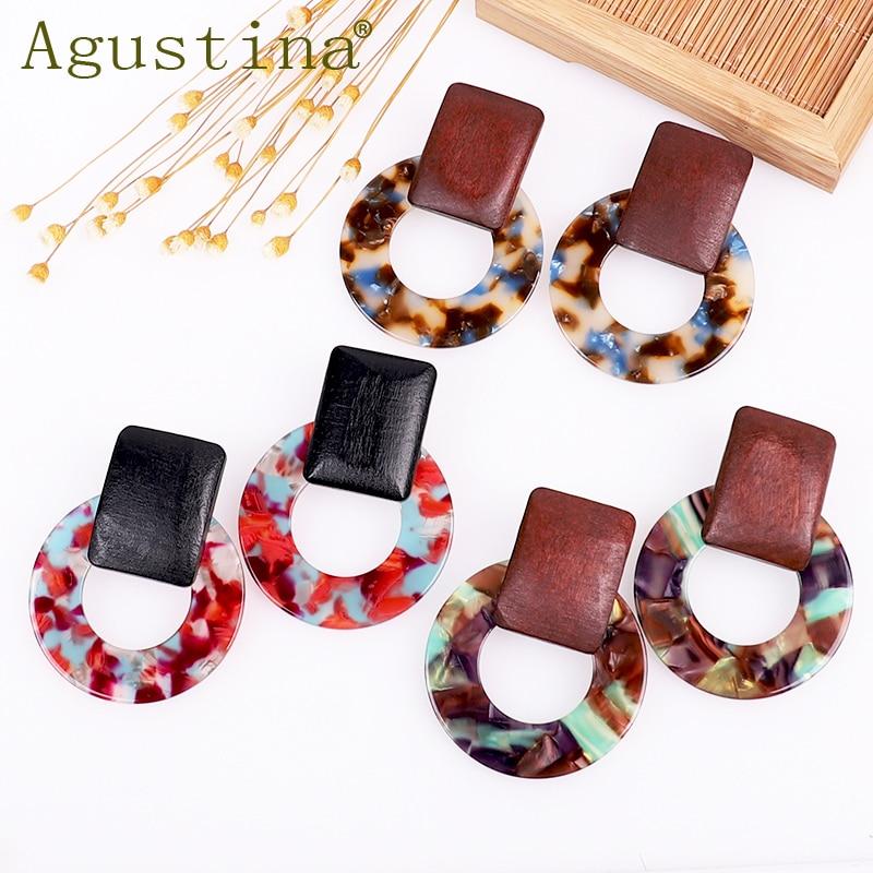 Agustina Wood Acetate Fashion Earrings Jewelry Girls Drop Earrings For Women Green Rainbow Earrings Punk Earring Earings Boho cc