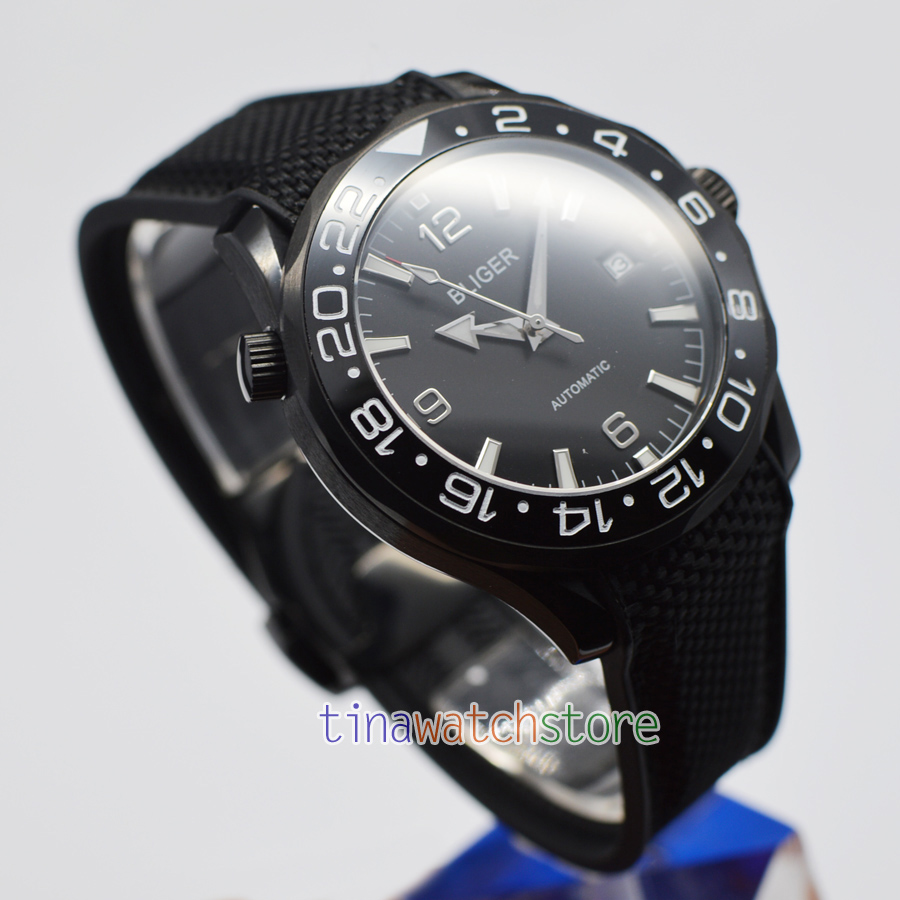 Bliger 41mm Automatic Mechanical Men Watch black dial white scale Sapphire Crystal Ceramic Bezel Watch Rubber strap