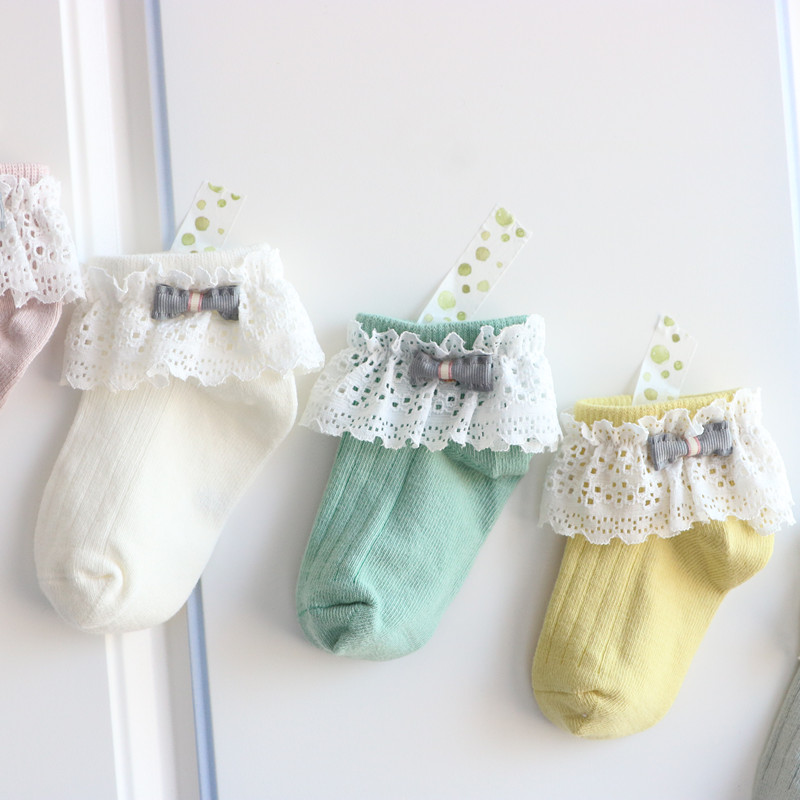 Children Sweet Bow Pearls Cotton Baby Girls Socks For 0-7 Years 4 Colors