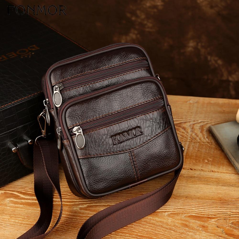 Fonmor 100% Genuine Leather Male Waist Packs Phone Pouch Chest Bags Waist Bag Men's Small Shoulder Belt Zipper Bag Casual Men