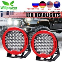 12v 24v round spot beam IP67 waterproof 9inch led offroad car 96W led driving light 4x4 4WD Red Black