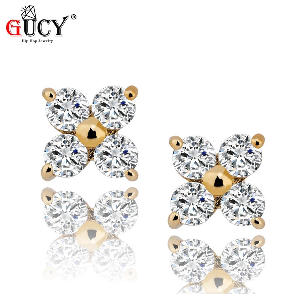 GUCY 10k véritable or glacé carré boucle d'oreille couleur or cubique Zircon boucles d'oreilles pour hommes Hip Hop bijoux pour cadeau