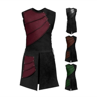 Men Medieval Halloween Cosplay Costume Adult Night Viking Archer Sleeveless Leather Armour Stage Renaissance Vest for Man