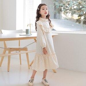 Image 4 - Nowy 2020 dziecko księżniczka sukienka nastoletnia sukienka na jesień dzieci śliczna sukienka sukienka dla dziewczynek wypoczynek maluch sukienka w kropki bawełna, #5092