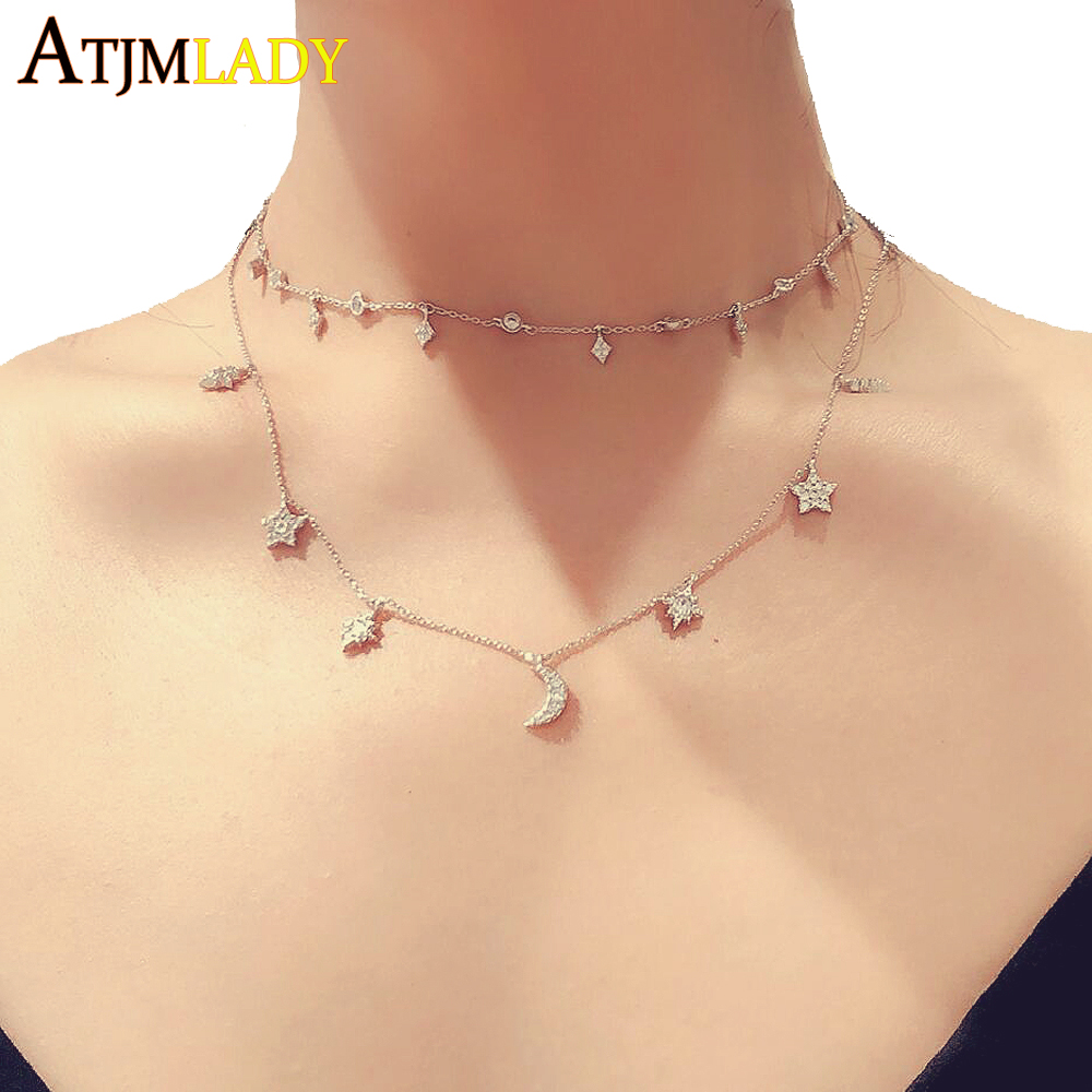 2019 New Spring rose gold silver color tiny cute moon star sunburst girl ladies drip 925 sterling silver choker charm necklace