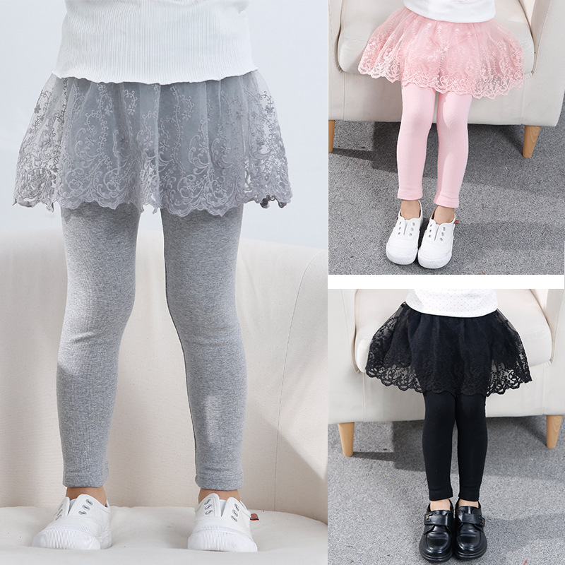 Fashion Girls Skirts Fitness Leggings Pants Fake Two Baby Underpants Spring Autumn Pure Cotton Skirt Wearing Slim Leggings 3-7T