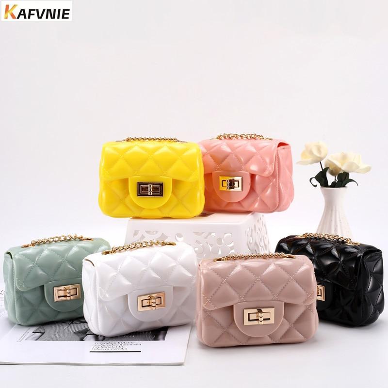 KAFVNIE Hot Children's Jelly bag 12.5cm Size r Kid Girls PVC Candy Colors  Shoulder HandBag Silicon Tote Beach Satchel bag Purse