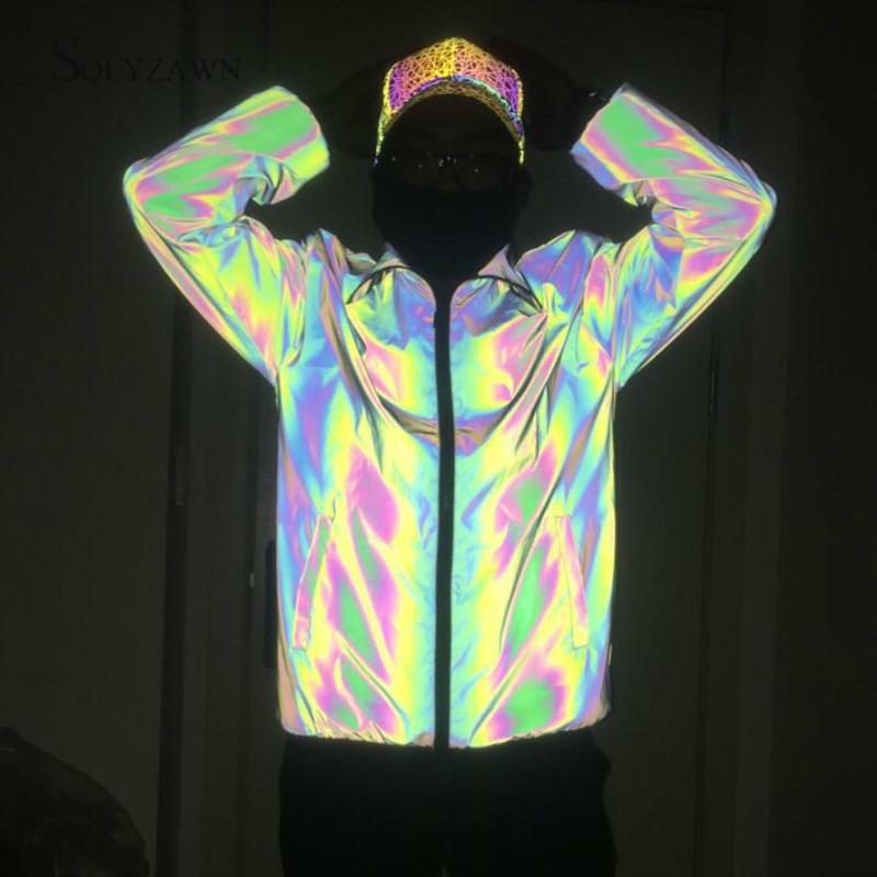Men Colorful Rainbow Reflective Loose Jacket Autumn Winter Streetwear Gray Light Christmas Waterproof Windbreaker Plus Size