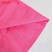 Tangada Women Pink Cotton Dress Back Bow Sleeveless Backless 2021 Summer Fashion Lady Dresses 3H130 5