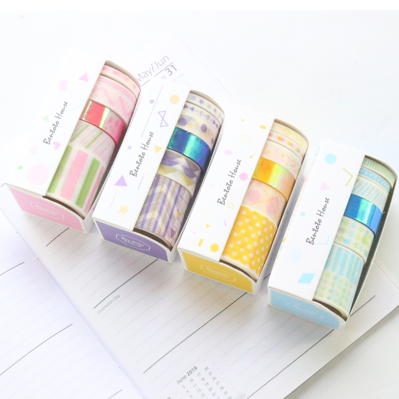 Domikee Cute Laser Japanese Bullet Journal Diary Notebook Decoration DIY Washi Paper Masking Tape Rolls Set Stationery 6pcs