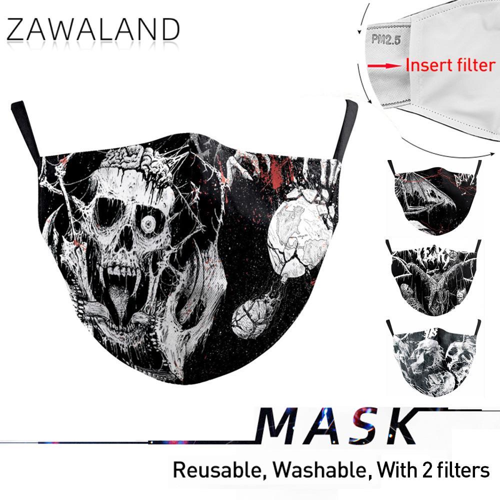 Zawaland Adults Black Party Cosplay Skull Printed Mouth Masks Fashion Reusable PM2.5 Dustproof Windproof Masks Dropshipping