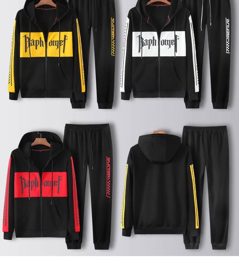 Men Hood Zip Full Outdoor Gym TrackSuit Sport Jacket Coat Bottom Top Suit Trousers Pants Track Suit Outfit